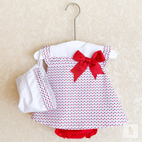 Heidi red and white polka dot dress set