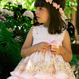Margarita baby pink floral puffball dress