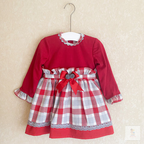 Ellara red and grey girls dress
