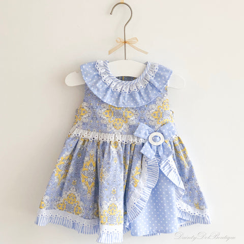 Harmony blue and yellow patterned dress