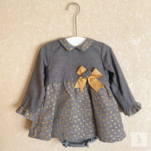 Esmae grey and yellow polka dot dress set