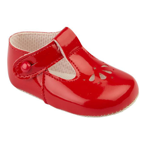 Patent red T-bar pram shoes