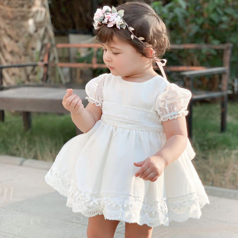 Evie dove white chiffon puffball dress