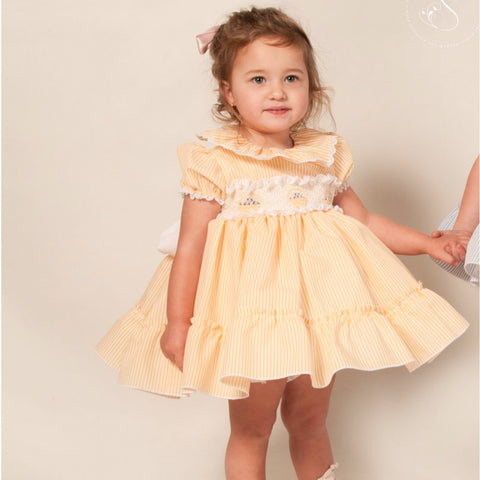 Eliza lemon yellow candystripe smocked puffball dress