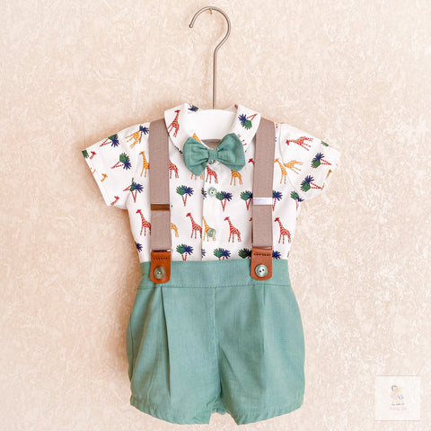 Samuel green safari print shorts and shirt set