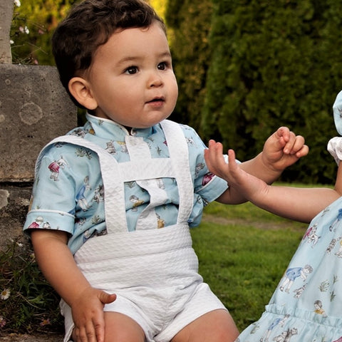Nathaniel baby blue shirt and H-bar shorts set