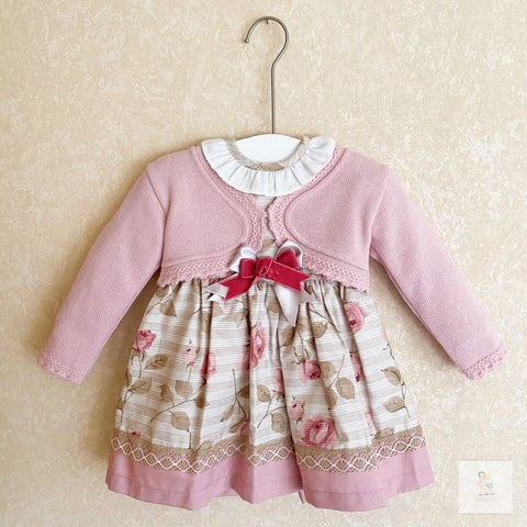Ava dusky pink leaf print baby dress with bolero
