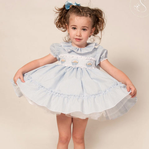 Eliza blue candystripe smocked puffball dress