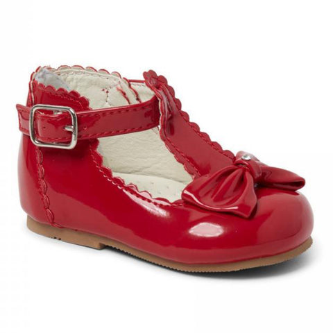 Patent t-bar shoes with diamante bow in red
