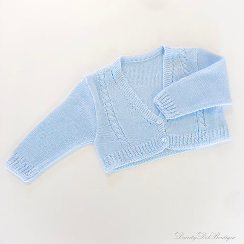 Baby blue double-button cardigan