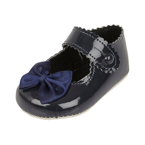 Navy patent pram shoes with bow