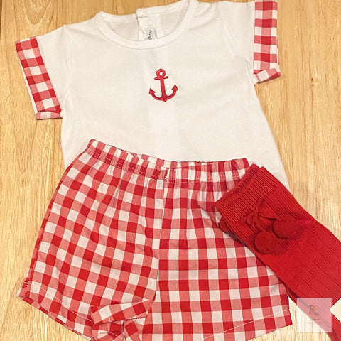 Hudson red and white gingham shorts set