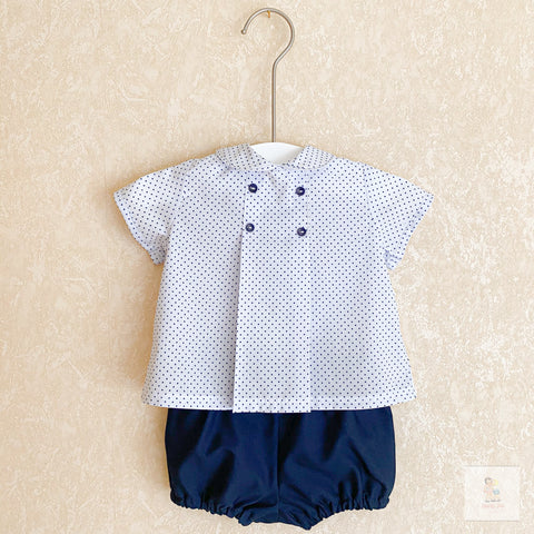 Timothy navy polka dot two-piece set
