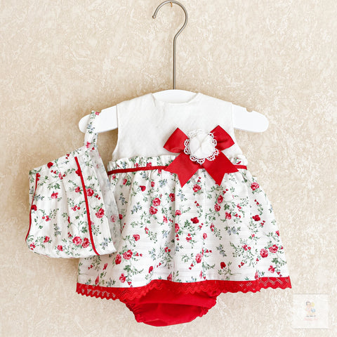 Davina red and white floral dress set