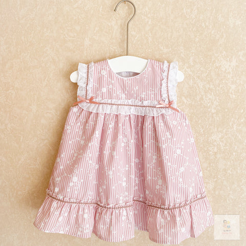 Marcia pink striped and floral print girls dress