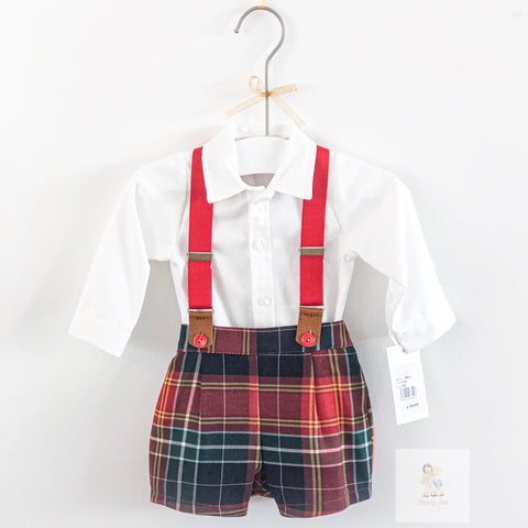 Hilton red and green tartan brace shorts set