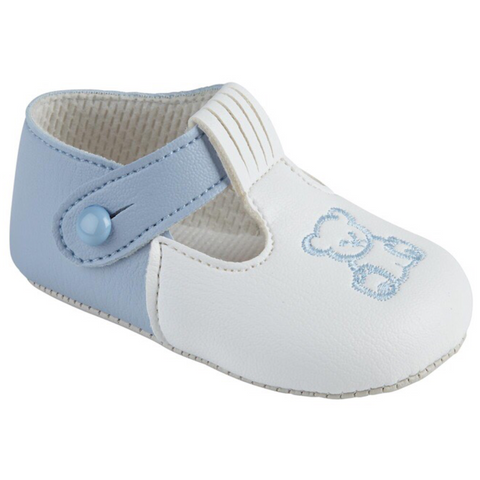 Blue and white soft-sole bear motif shoes