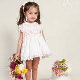 Brianna white and pink smocked puffball dress
