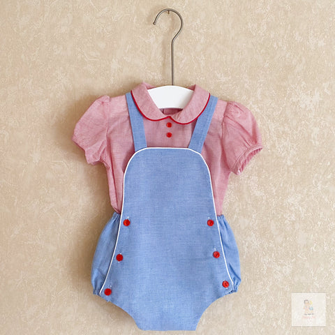 Lorenz red and blue shirt and romper set