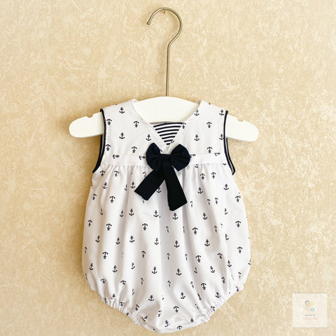 Ashley nautical print baby romper