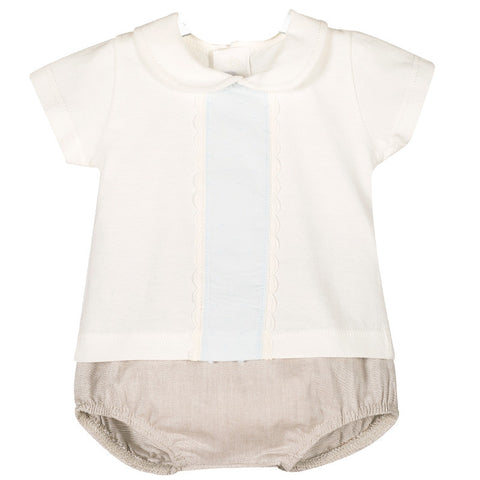 Brooklyn beige round collar top and shorts set