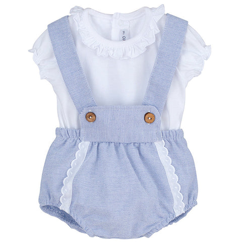 Isla blue and white romper set
