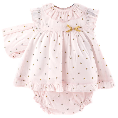 Ella pink bumble bee print dress set