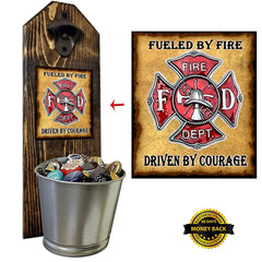 Wall mounted bottle cap opener and bucket