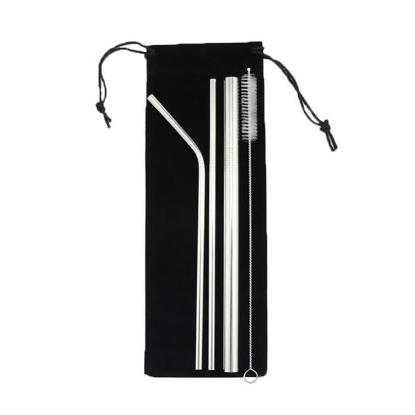 'Save Our Planet' Reusable Stainless Steel Straw Set with Brush & Bag