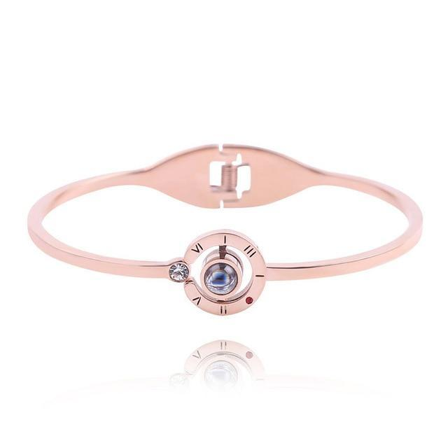 Rose Gold I Love You in 100 Languages Bracelet