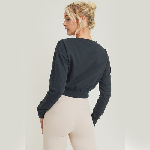 Twist Front Cotton Pullover