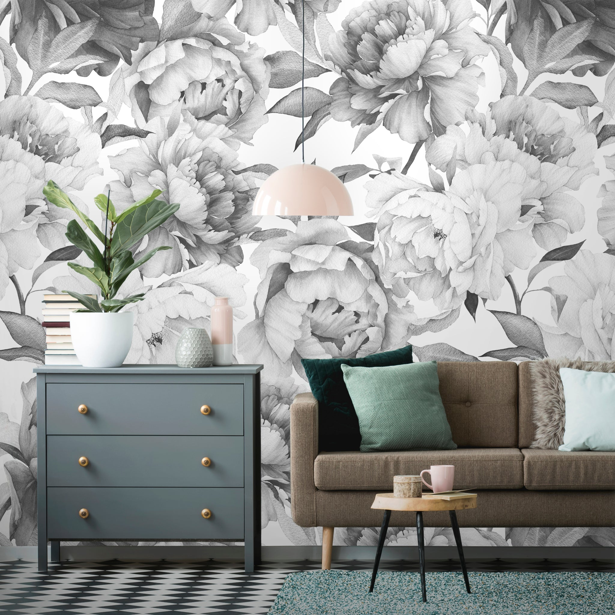 Watercolor Peonies Flowers Removable Wallpaper