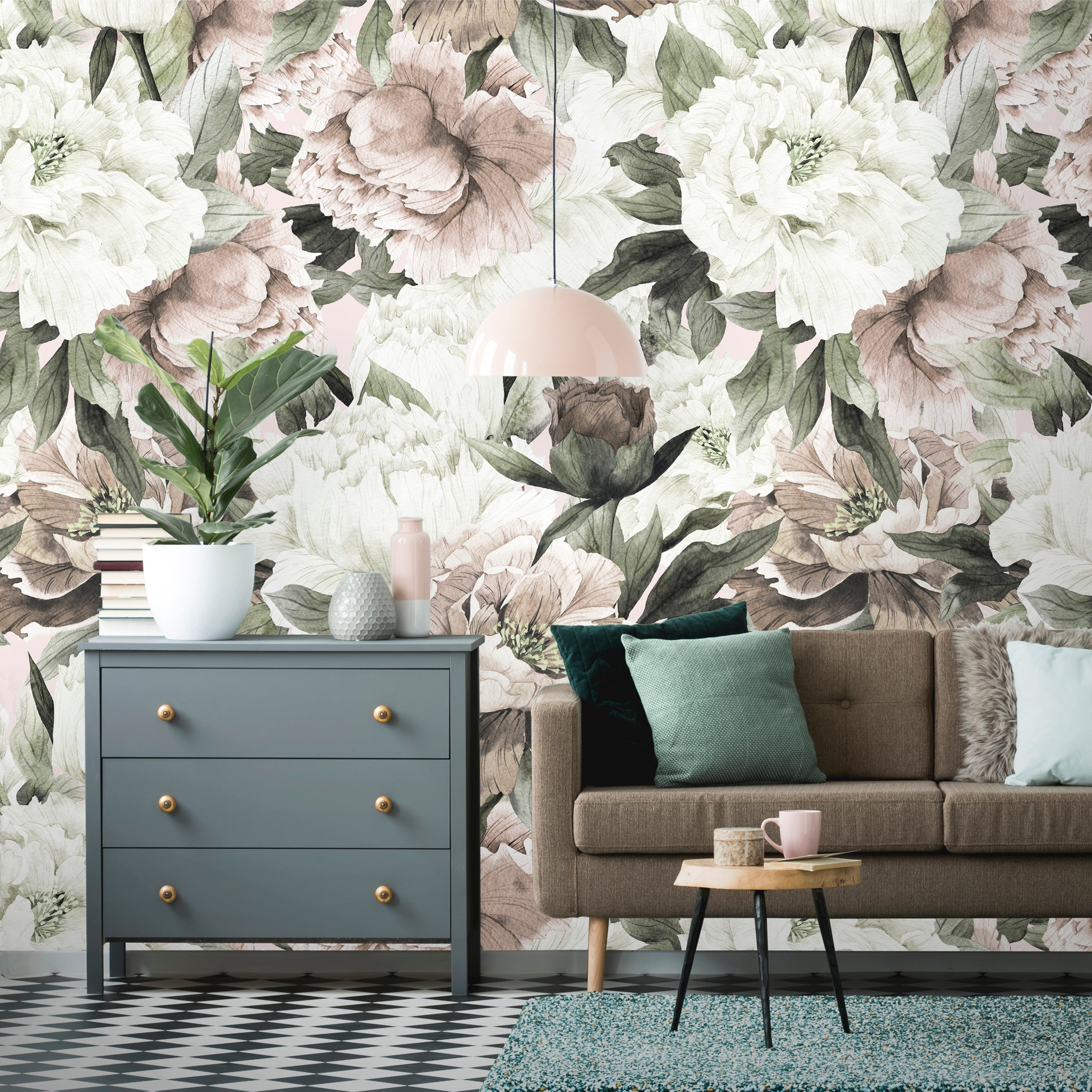 Watercolor Floral Peonies Flowers Removable Wallpaper