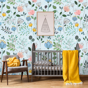 Colorful Floral Removable Wallpaper