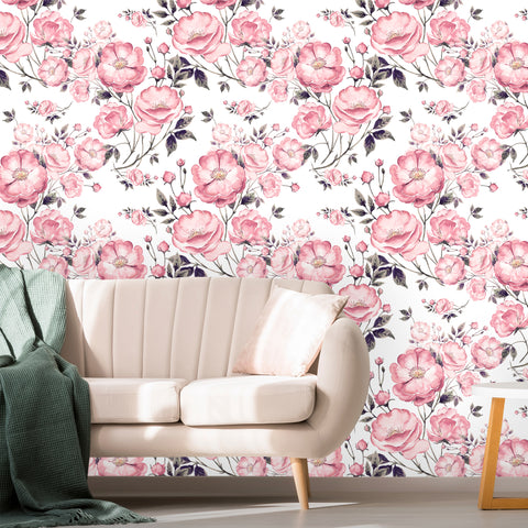 Watercolor Flowers with Leaves Removable Wallpaper