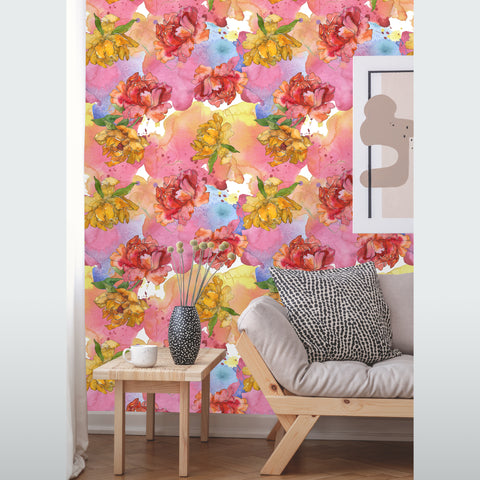 Watercolor Peony Flowers with Leaves Removable Wallpaper