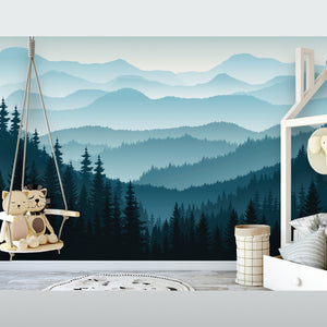 Ombre Blue Mountain Pine Forest Trees Removable Mural/Wallpaper