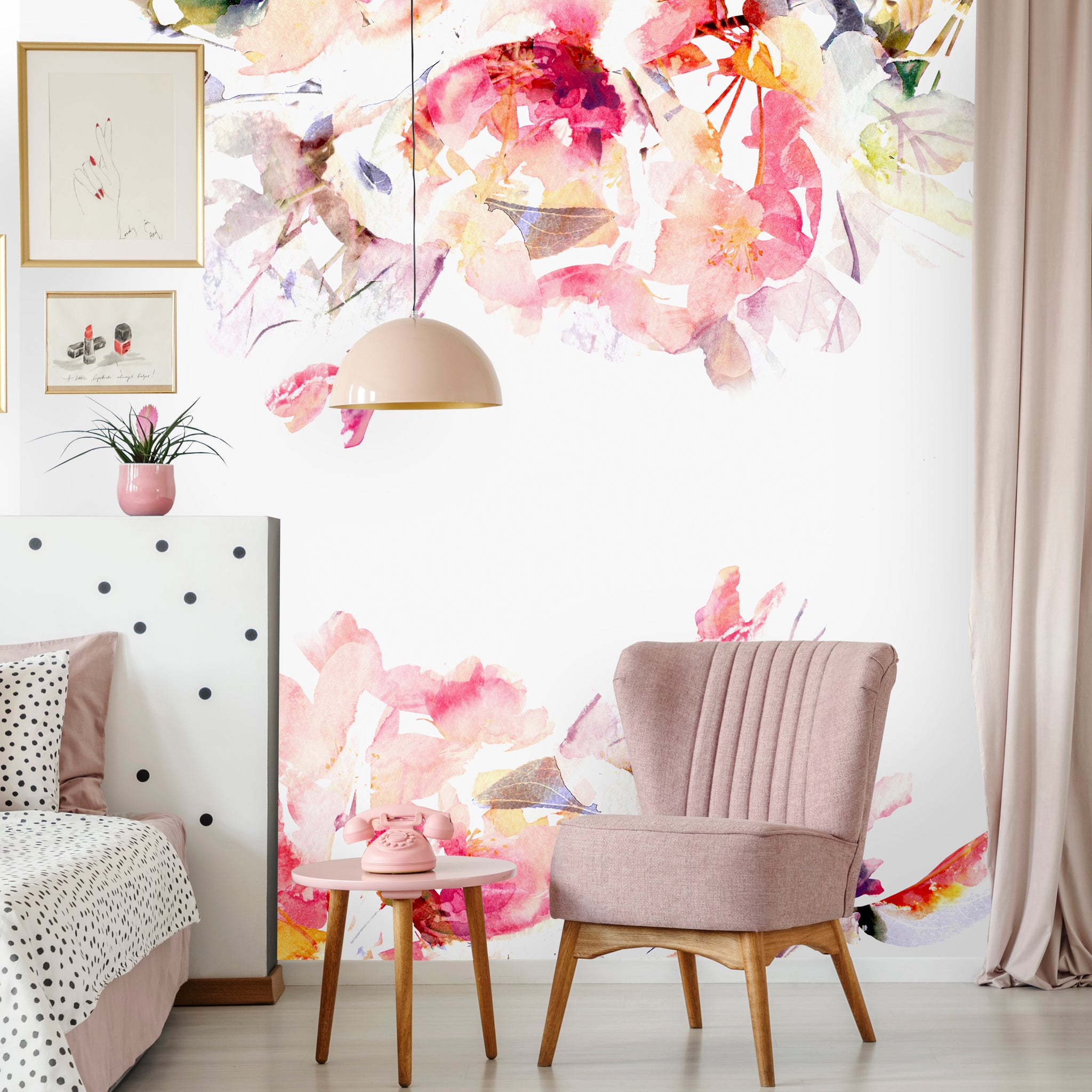 Watercolor Floral Flowers Removable Wallpaper