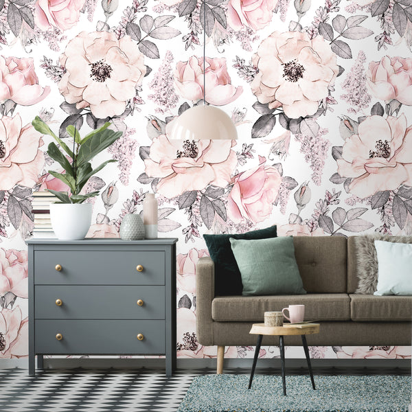 Colorful Floral Peonies & Roses Removable Wallpaper