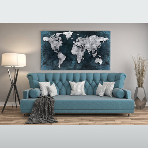 Push Pin Travel World Map Canvas