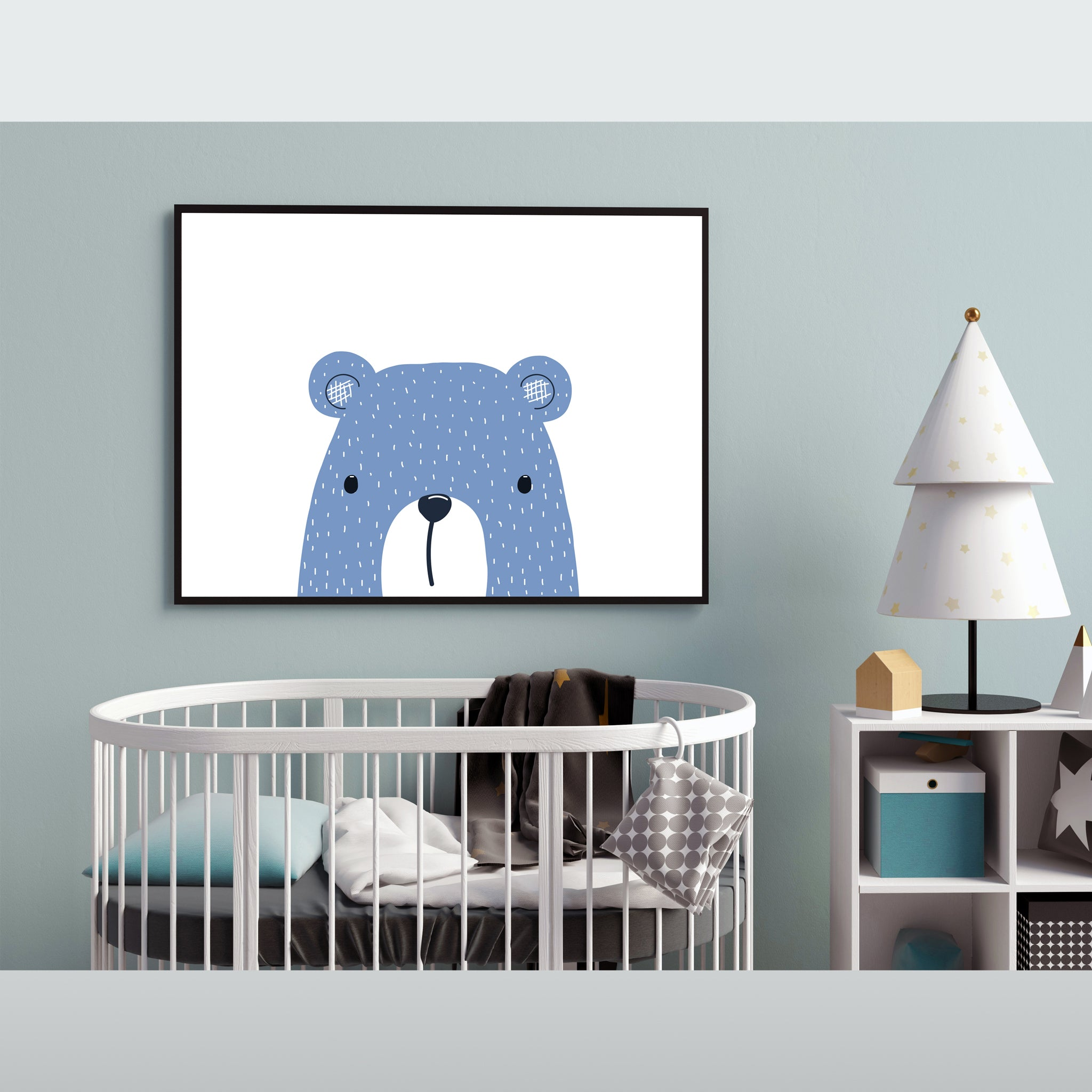 Blue Bear Drawn Art Print