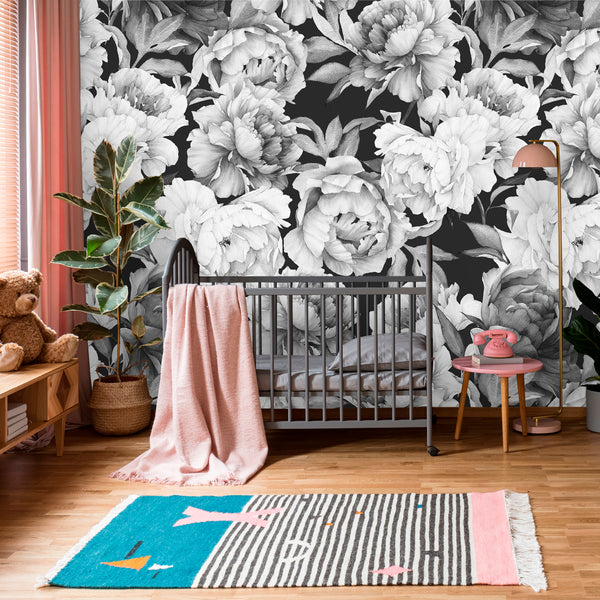 Black and White Flowers Floral Removable Wallpaper