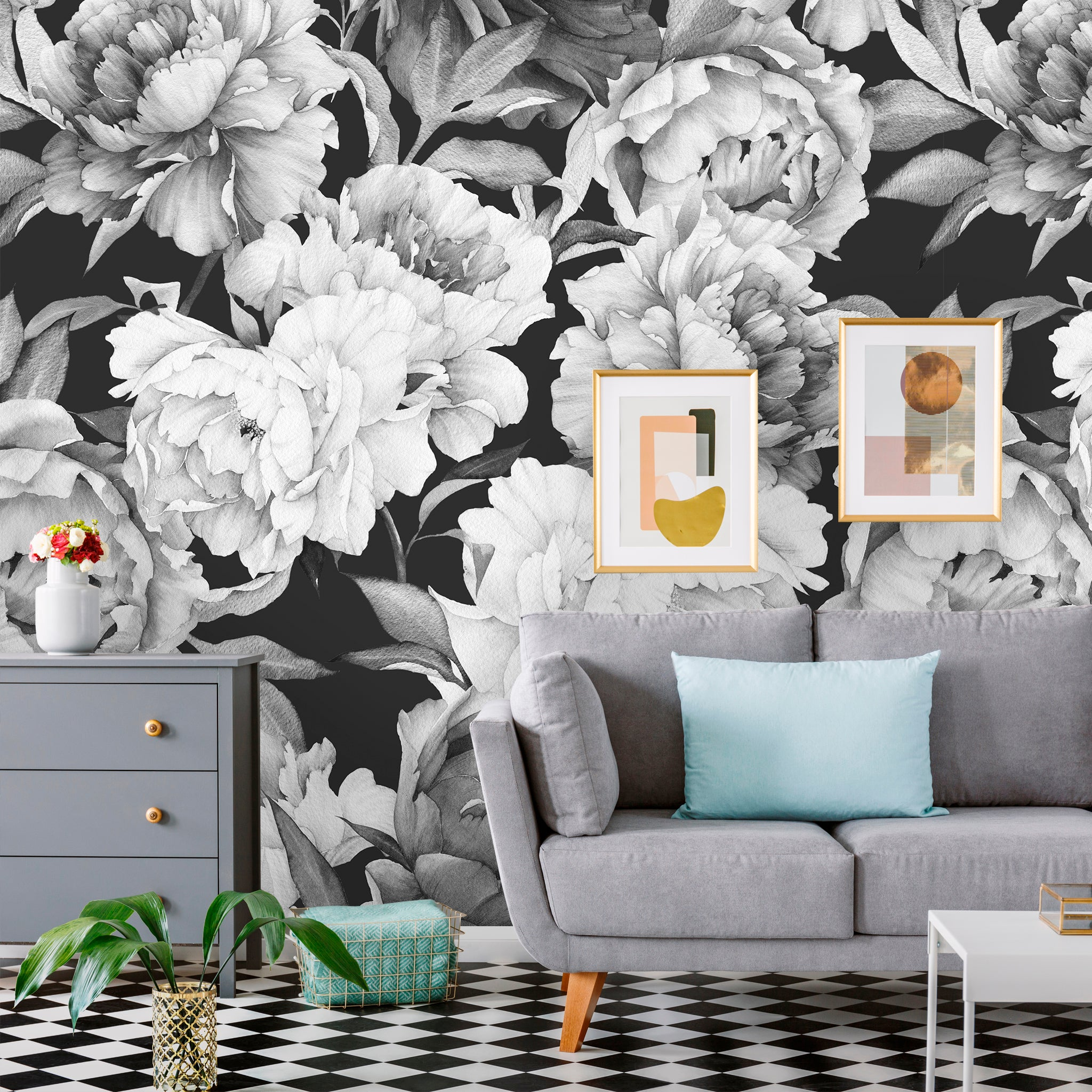 Black And White Flowers Floral Removable Wallpaper Coloritto