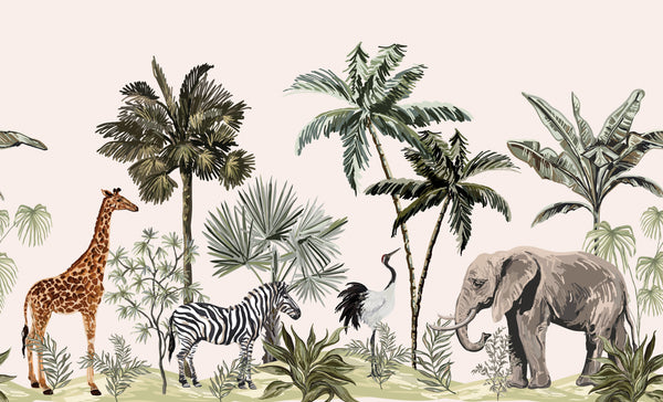 Jungle Animal Botanical Removable Mural/Wallpaper
