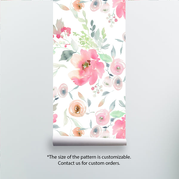 Watercolor Flowers Removable Wallpaper