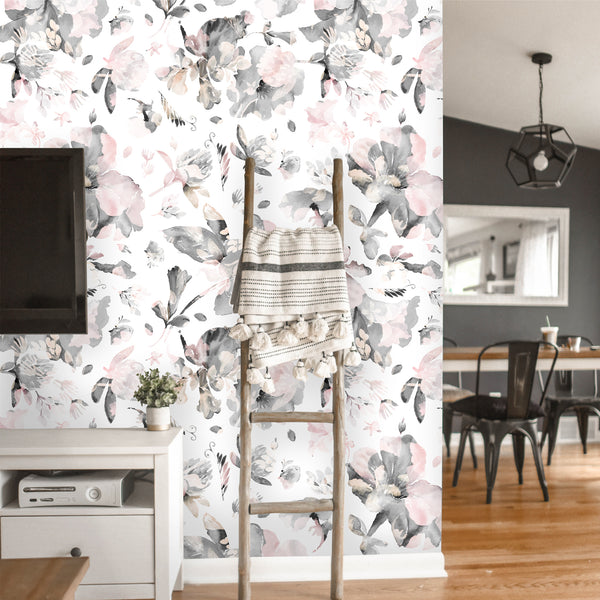 Watercolor Wildflowers Leaves Removable Wallpaper