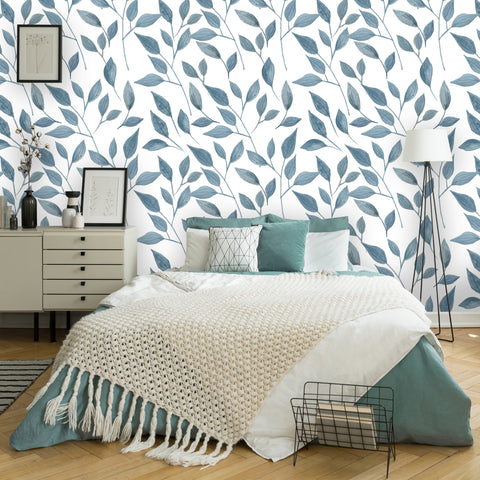 Floral Watercolor Leaves Removable Wallpaper