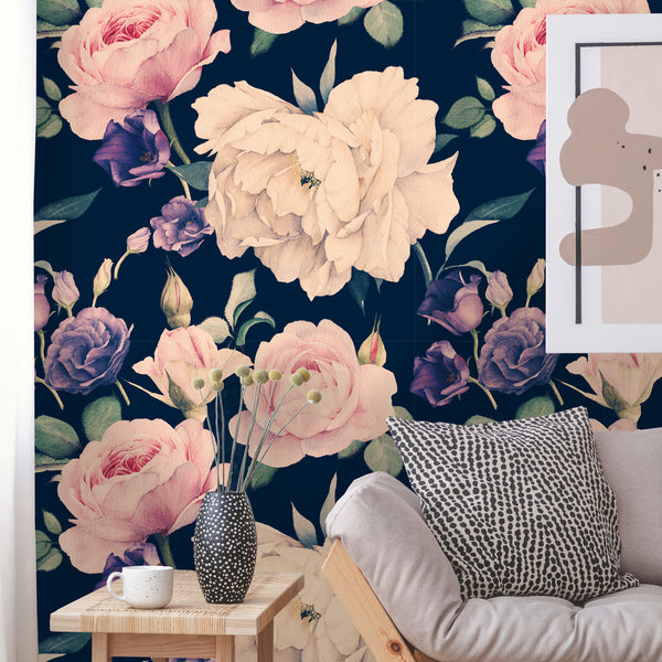 Floral Roses Watercolor Removable Wallpaper