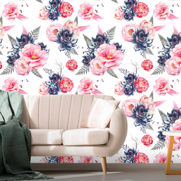 Peonies Flowers Removable Wallpaper
