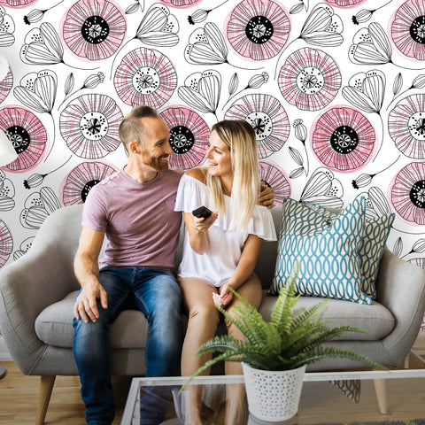 Poppies Floral Removable Wallpaper